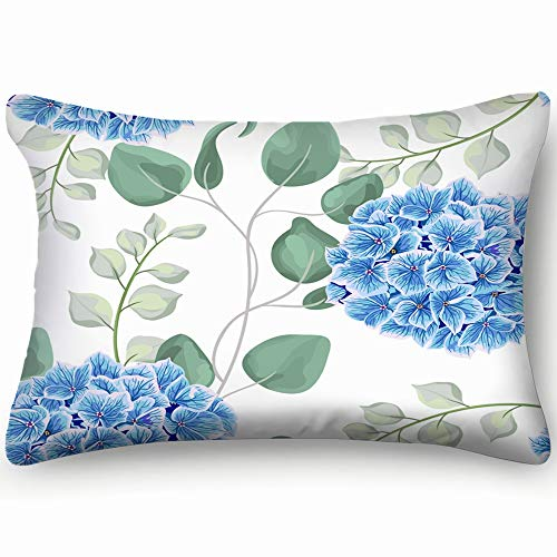 (best bags Watercolor Baby Blue Eucalyptus Hydrangea Flowers Invitation Home Decor Wedding Gift Engagement Present Housewarming Gift Cushion Cover 20X30)