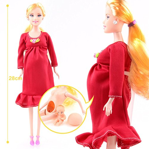 UMFun Doll Dress Real Pregnant Doll Suit Mom Doll Baby Inside Tummy Kids Funny Toy 5cm&28cm (Red)