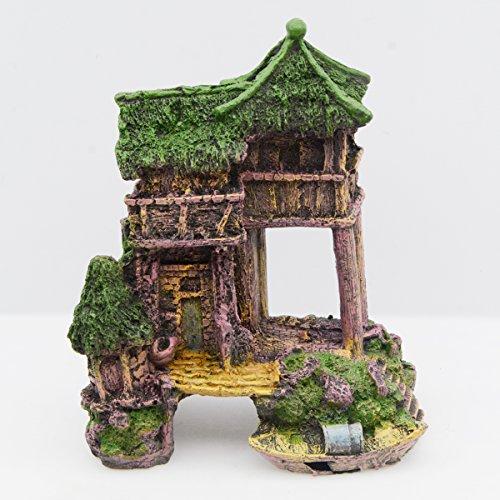 Image of Saim Aquarium Decorations Resin Ancient House Betta Shrimp Hideout Décor Fish Tank Landscape Ornament