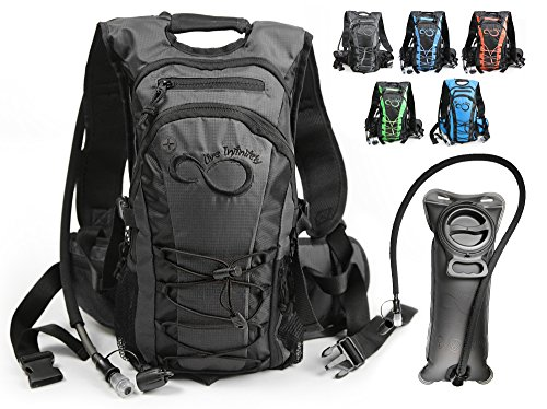 Live Infinitely Hydration Backpack with 2.0L TPU Leak Proof Water Bladder- 600D Polyester -Adjustable Padded Shoulder, Chest & Waist Straps- Silicon Bite Tip & Shut Off Valve- (Blue Center)