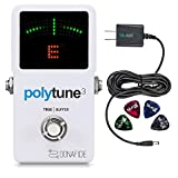 TC Electronic Polytune 3 Polyphonic Guitar Tuner Pedal - INCLUDES - Blucoil 9V Replacement Power Supply AND 4 Pack Guitar Picks