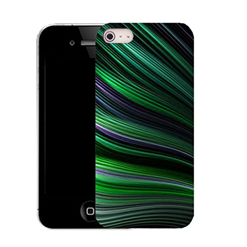 Mobile Case Mate IPhone 4s clip on Silicone Coque couverture case cover Pare-chocs + STYLET - green stripey wave pattern (SILICON)