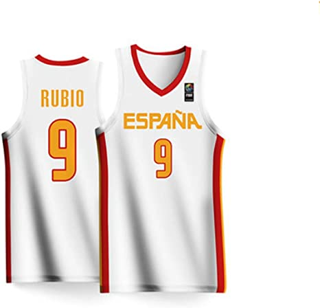 BALL-WHJ Transpirable Unisex 2019 Copa Mundial De Baloncesto España Rubio # 9 Jersey Traje De Competición Nacional Jersey Jersey De Baloncesto Cómodo,2XS:155~160cm(40~50kg): Amazon.es: Hogar