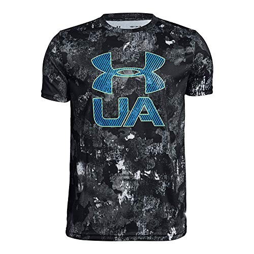 Under Armour Boys' Printed Crossfade T-Shirt, Black (003)/Green Typhoon, Youth Large