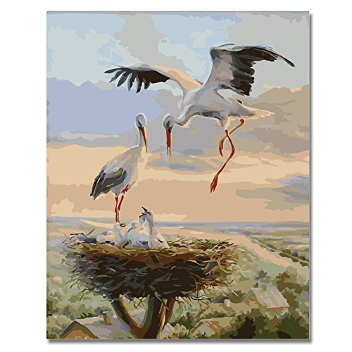 Paintings Crane Gallery (Fengtuo Diy Oil Painting Paint by Number Kit Canvas Painting Hand Colouring Decorative Picture-Loving Crane 16
