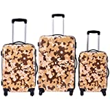 Goplus GLOBALWAY 3 Pcs Luggage Travel Set Bag ABS+PC Camouflage Trolley Suitcase Wheels Coded Lock (Coffee Camo)