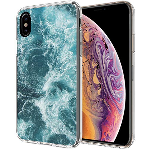 Ailiber Case for iPhone Xs and iPhone X, Blue Ocean Billow Spray Water Natural Texture Slim Light Soft TPU Shockproof Bumper Protective Cover for Apple iPhoneXs 2018 / iPhoneX 5.8inch - Sea Wave