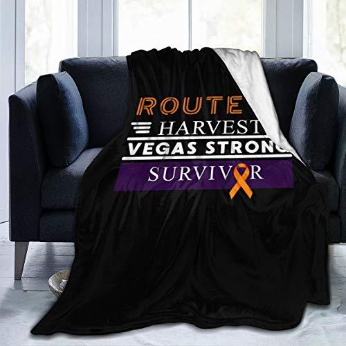 NUM1 Route 91 Las Vegas Strong Survivor Super Soft Cozy Micro Plush Velvet Fleece Blanket Warm Lightweight Sofa Throw Blanket Luxurious