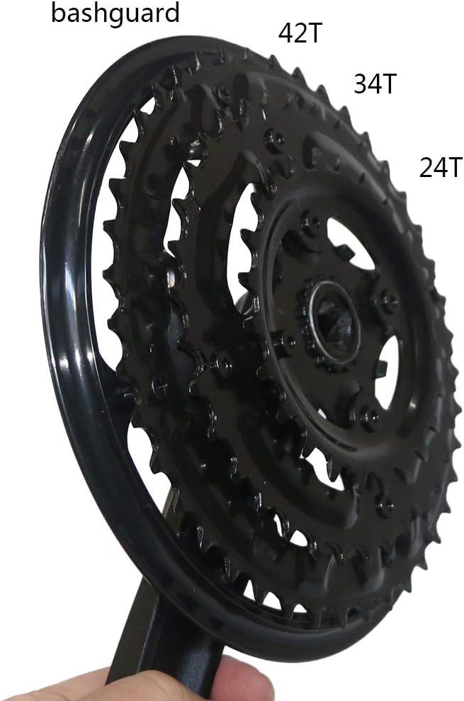 GANOPPER MTB Crankset 42//34//24T 7 8 9 Speed Mountain Bike Chainset 170mm Crank Arm with Bicycle Bashguard