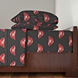 Roostery Rocky 3pc Sheet Set Rocky Lips Large by Krakmunky Twin Sheet Set made with