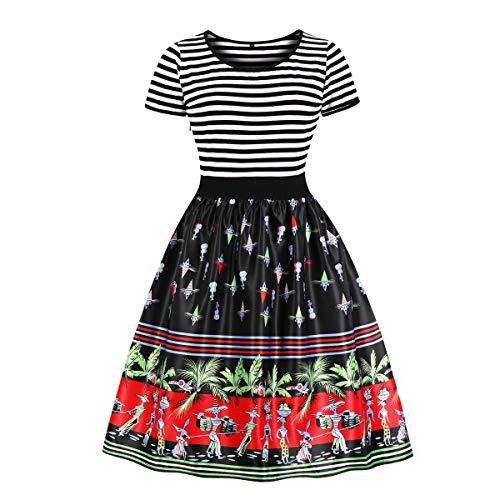 678bb4d94d5 Wellwits Women s Crew Neck Sailor Striped Print Tea Party Vintage Swing  Dress