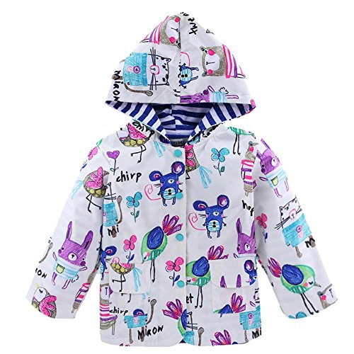 - Wennikids Girl Kid Flower Boy Dot Waterproof Hooded Coat Jacket Outwear Raincoat X-Large White Flower