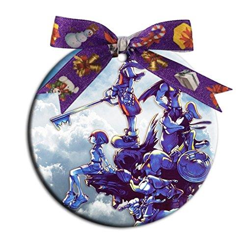 Turekk Custom Kingdom Hearts Fashion Round Porcelain Ornament Christmas Tree Hanging Ornament ()