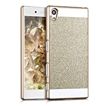 kwmobile Hard case Design glitter rectangle for Sony Xperia Z5 in gold white