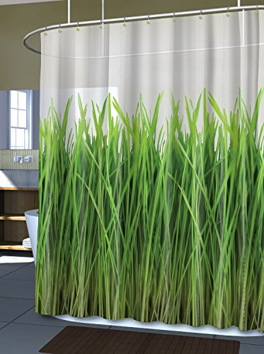 Inside the Meadow Green Grass Eco PEVA Curtain - White, 70