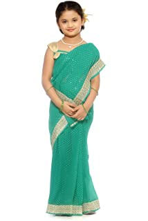 Bhartiya Paridhan Girl S Pre Stitched Ready To Wear Saree Amazon In