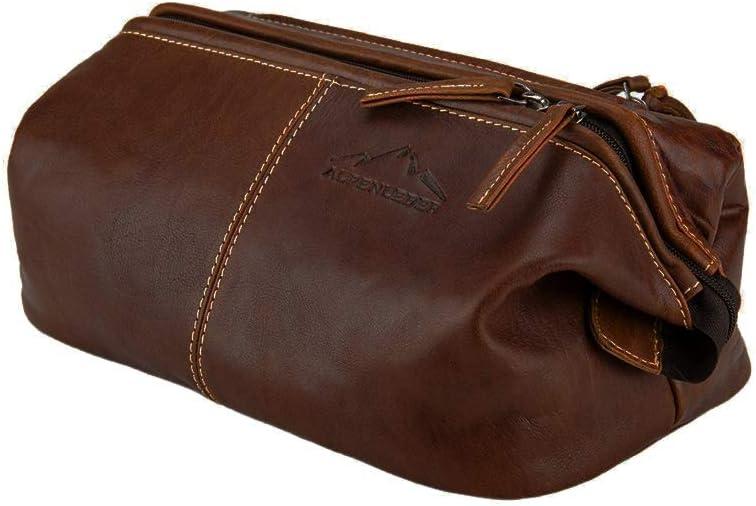 Toiletry Bag LAGO DI GARDA Made Of Buffalo Leather Men Women Brown By Alpenleder