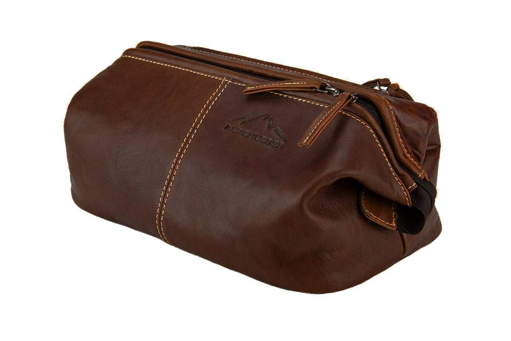 Toiletry Bag''LAGO DI GARDA''   Made Of Buffalo Leather   Men Women Brown   By Alpenleder by Alpenleder