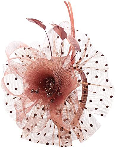 Flower Cocktail Tea Party Fascinators Feather Headwear Top Hats Wedding Headband for Women (009-Coffee Color) -