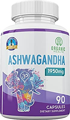 1950 mg Ashwagandha 100% Organic for Anxiety & Stress Relief | 90 Capsules & GMO free | Pharmacist Approved by Organic Health