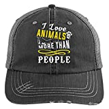 I Love Animals Knit Cap, More Than People Hat (Trucker Cap - Black)