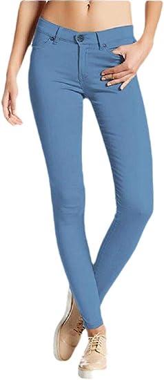 Fly Year-JP レディースファッション スリム フィット ストレッチ ハイ ウエスト パンツ ジーンズ ペンシル パンツ