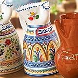 El Puente del Arzobispo Hand Painted Ceramic Sangría Pitcher (10 inches tall - 10 cup capacity)