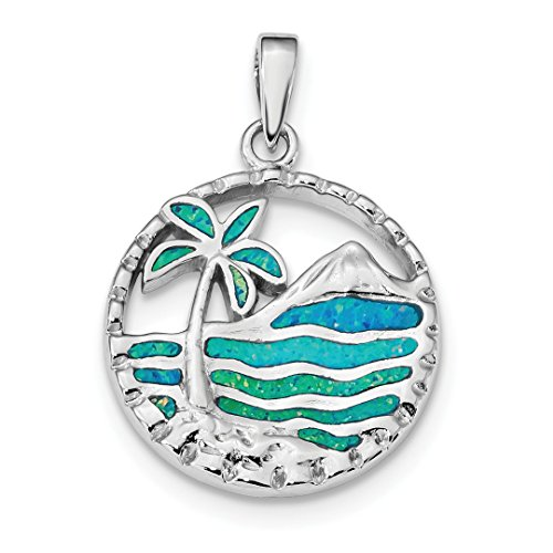 - 925 Sterling Silver Blue Created Opal Palm Tree Ocean Pendant Charm Necklace Sea Shore Outdoor Nature Fine Jewelry Gifts For Women For Her