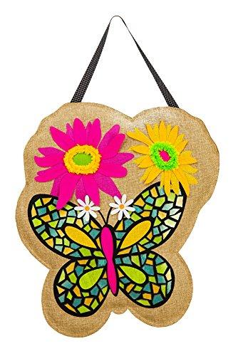 Evergreen Butterfly Burlap Door Decor -