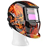 Flexzion Auto Darkening Welding Helmet Solar Powered Weld Grind Selectable Mask Tool Fire Skull Full Face Protection for Arc Tig Mig Grinding Plasma Cutting with Adjustable Shade Range 9-13