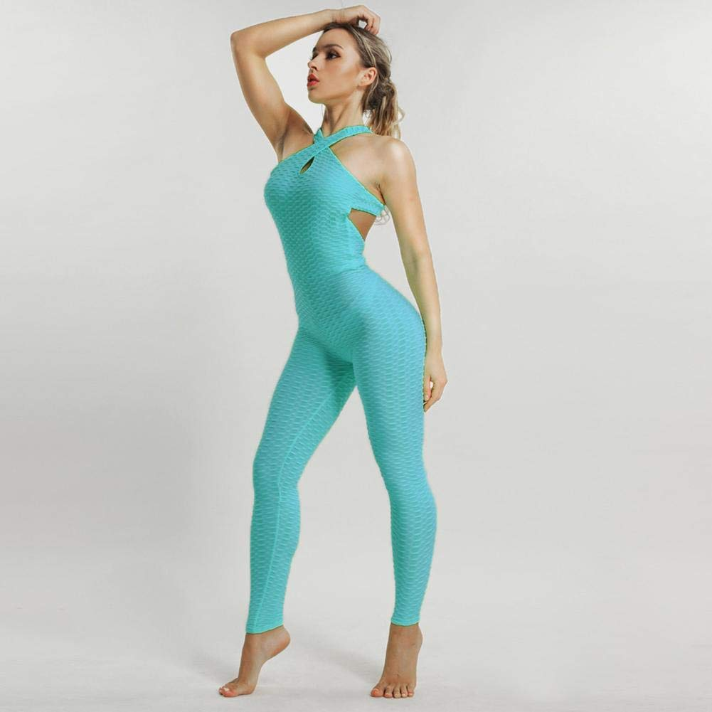 Buy Questionno Fitness Yoga Jumpsuit Pants Women Gym Sport Push Up Leggings Blue M At Amazon In