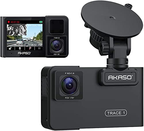 AKASO Trace 1 Dual Dash Cam for Cars, Car Dash Camera Front 1080P60 Dual 1080P30 340 Coverage Infrared Night Vision with Sony STARVIS Loop Recording G-Sensor Support max. 128GB Card