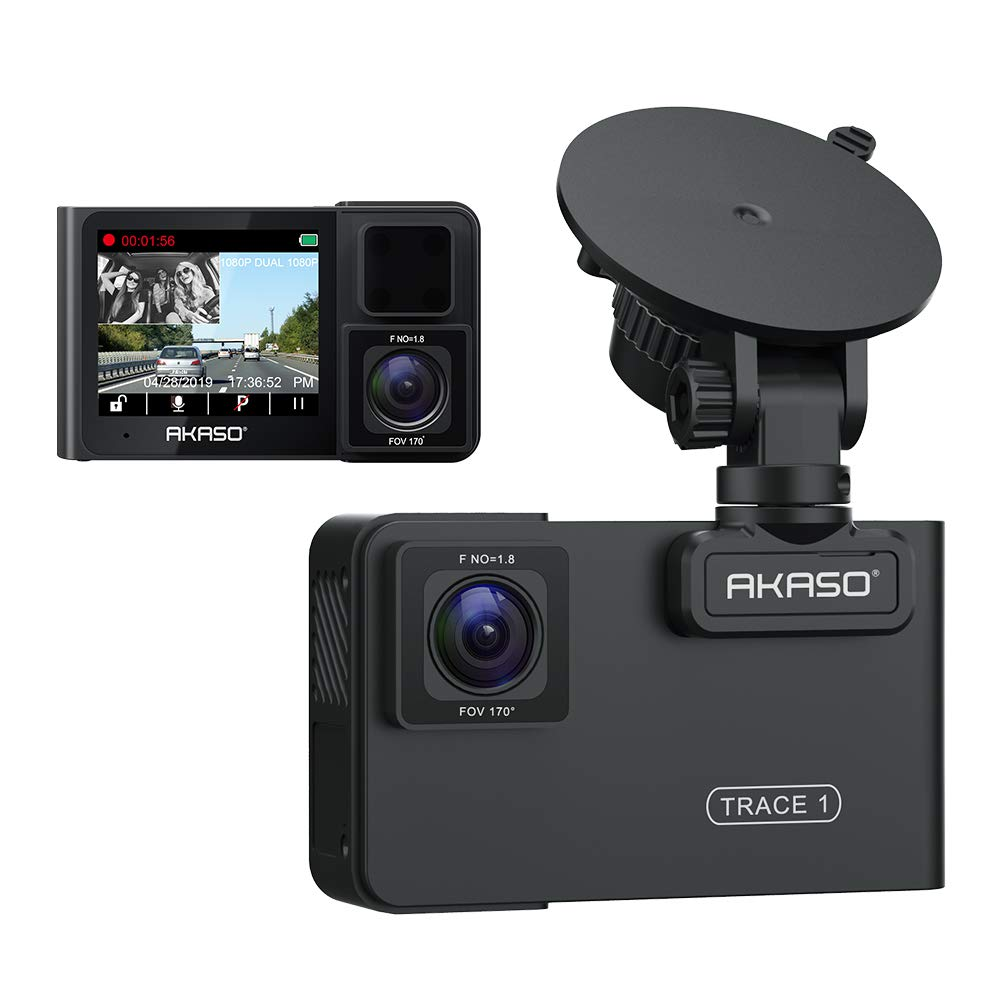 AKASO Trace 1 Dual Dash Cam for Cars, Car Dash Camera Front 1080P60 Dual 1080P30 340° Coverage Infrared Night Vision with Sony STARVIS Loop Recording G-Sensor Support max. 128GB Card by AKASO