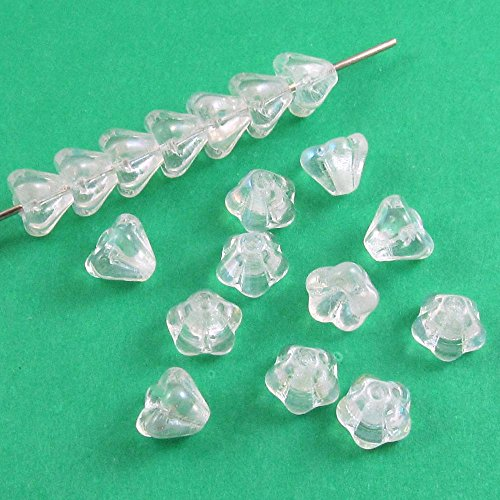 Czech Glass Baby Bell Flower Beads-CRYSTAL CLEAR AB 4x6mm -