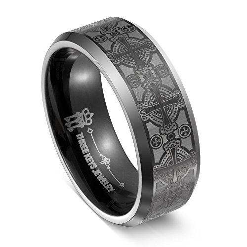 three-keys-jewelry-8mm-tungsten-ring-wedding-engagement-band-plat-beveled-edge-matte-frost-celtic-cr
