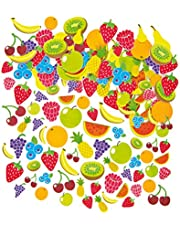 Baker Ross- Pegatinas de Espuma con Diseños de Frutas (Pack de 120) para Decorar Tarjetas, Cuadernos, Manualidades y Collages Infantiles