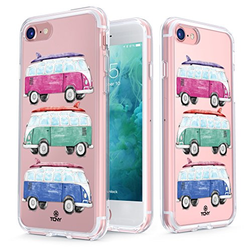 True Color Case Compatible with iPhone 7 / iPhone 8 Hippie Case, Clear-Shield Cute Girly Hippie Van Printed on Clear Back, Soft & Hard Slim Shockproof Dustproof Protective Bumper Cover