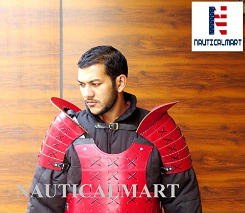 NAUTICALMART Leather Samurai Pauldron Medieval Armour - Red