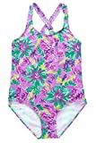 Sociala Little Big Girls Floral One Piece Swimsuit. Girls bathing suit with bright color and cute pattern of flower and coral. One piece swimwear features adjustable criss cross back straps for a perfect fit. Stretchy and comfortable kids swi...
