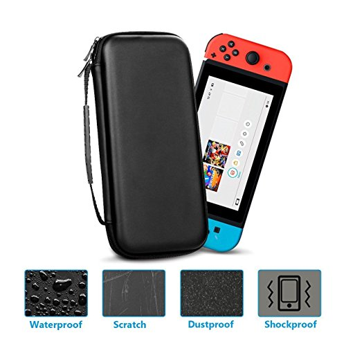 Carry Case, Hard Shell Protective Carrying Case with 10 Game Cart Slots Travel Carry Case Shell Pouch for Nintendo Switch(black) ()