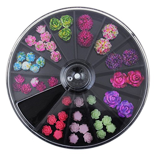 1 Sets 12-Color Flowers Mixed Nail Art Rhinestones In Wheel Studs Black Large DIY Manicure Nails Tool Tips Kits Graceful Popular Xmas Christmas Winter Snow Holiday Tools - Straight Large Wheels