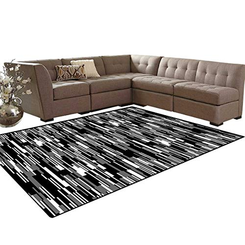 Black and White Door Mats Area Rug Barcode Pattern Abstraction Vertical Stripes in Grayscale Colors Anti-Skid Area Rugs 6'x9' Black Grey White