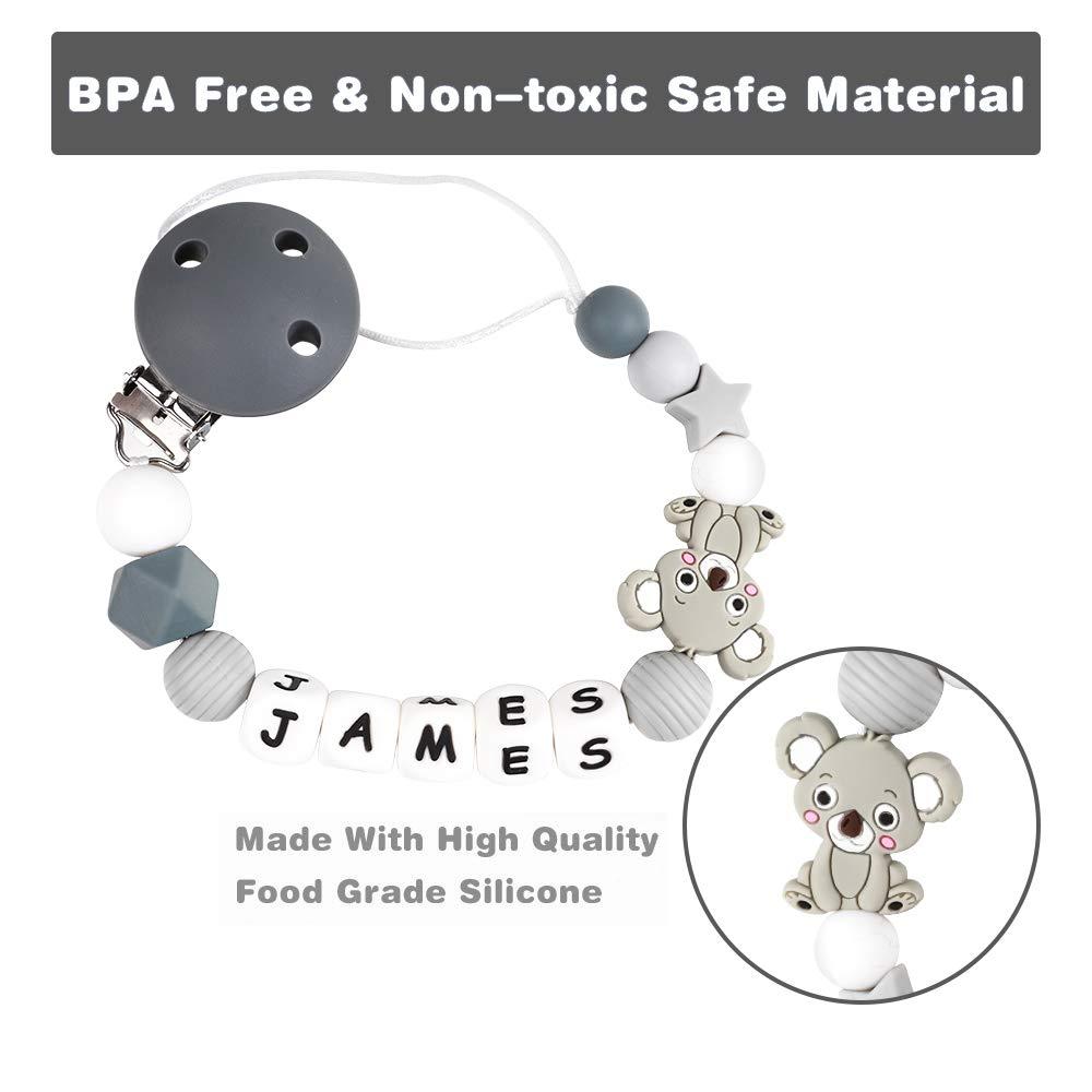 Cadena Chupetes Personalizado Koala Mapache Mordedor Bebes Nombre Cuentas Silicona Sin BPA Rosa Regalo de Ducha Koala Gris