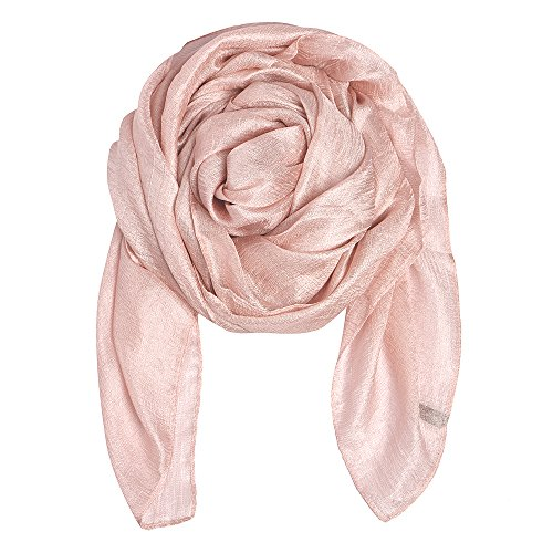QBSM Womens Baby Pink Sheer Large Soft Bridal Formal Evening Scarf Shawls Wraps