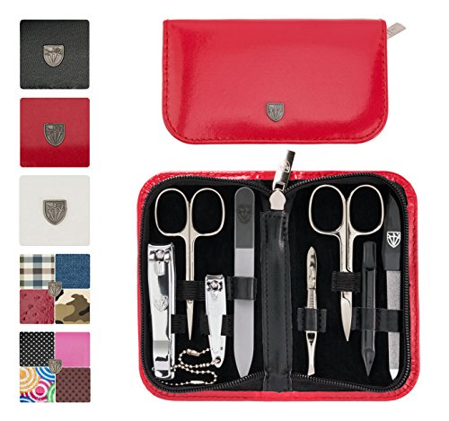 3 Swords Germany - brand quality 8 piece manicure pedicure grooming kit set for professional finger & toe nail care scissors clipper fashion leather case in gift box, Made in Solingen Germany (01993)