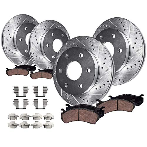 Detroit Axle - 301.8mm FRONT & 324mm REAR DRILLED AND SLOTTED Brake Rotors & Ceramic Brake Pads w/Hardware fits 4.2L 2006-2007 Buick Rainier & 2006-2008 2009 Chevy Trailblazer & GMC Envoy V-6 Only ()