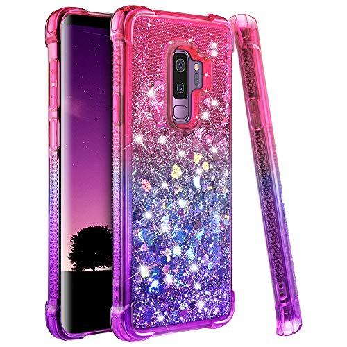 Samsung Galaxy S9 Plus Case, Ruky Gradient Quicksand Series Glitter Flowing Liquid Floating Soft TPU Bumper Cushion Reinforced Corners Women Girls Cute Case for Galaxy S9 Plus (Pink Purple)
