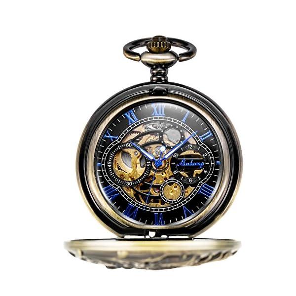 TREEWETO Mechanical Pocket Watch Dream Dragon Skeleton Half Hunter Double Open Silver/Bronze/Black Case