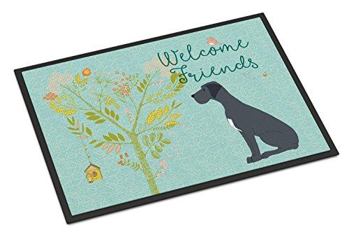 Caroline's Treasures Welcome Friends Black Dane Doormat 24hx36w Multicolor (Great Dane Doormat)