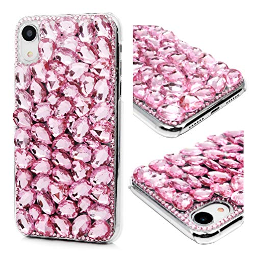 iPhone XR Case, iPhone XR Crystal Clear PC Shell Edge Raised Protect 3D Handmade Bling Shiny Glitter Sparkle Full Diamonds Rhinestones Gem Ultral Slim Bumper Color-Gradient PC Cover for iPhone XR